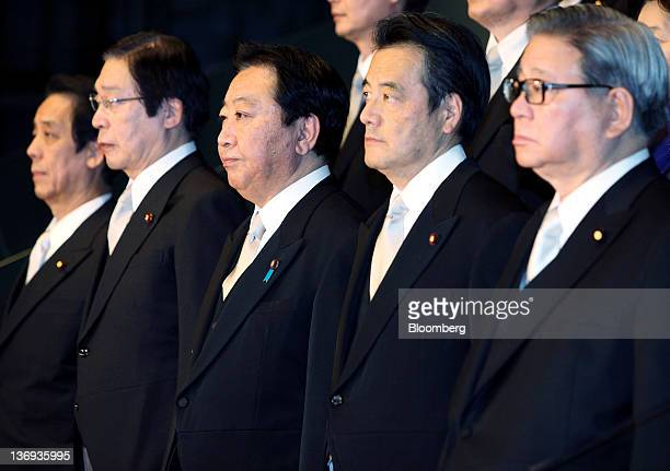 Yoshihiko Noda Japan's prime minister center poses for a group photo with his new cabinet members at the prime minister's official residence in Tokyo...