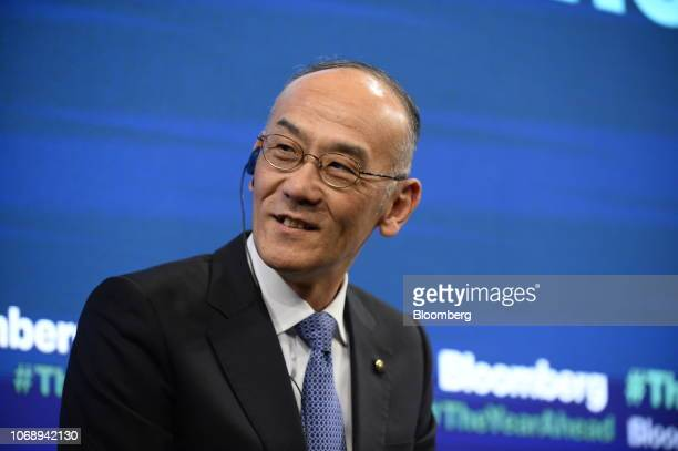 Yoshihiro Hidaka president and chief executive officer of Yamaha Motor Co speaks during the Bloomberg Year Ahead summit in Tokyo Japan on Thursday...