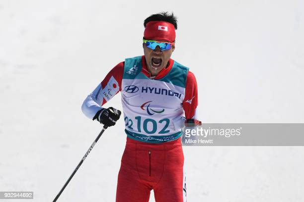 Yoshihiro Nitta of Japan celebrates after winning the Men's Cross Country 10km Classic Standing on day eight of the PyeongChang 2018 Paralympic Games...