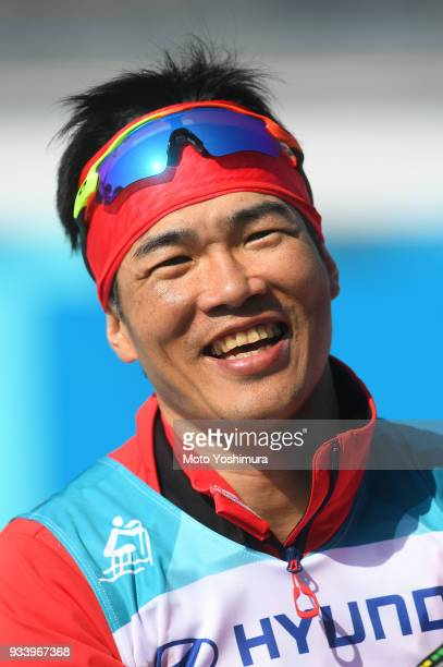 Yoshihiro Nitta of Japan celebrates winning the silver medal in the CrossCountry Men's 15km Sprint Classic Standing on day five of the PyeongChang...