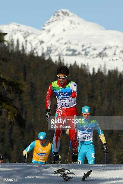 Yoshihiro Nitta of Japan compete in the Men's 10km Standing CrossCountry Skiing during Day 7 of the 2010 Vancouver Winter Paralympics at Whistler...