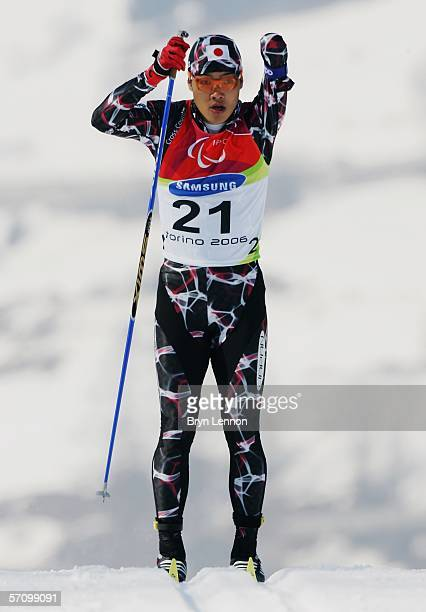 Yoshihiro Nitta of Japan competes in the Men's 10 KM - Standing Cross Country during Day Five of the Turin 2006 Winter Paralympic Games on March 15,...