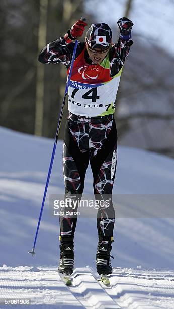 Yoshihiro Nitta of Japan competes in the Men's 5KM Standing Cross Country during day two of the Turin 2006 Winter Paralympic Games on March 12 2006...