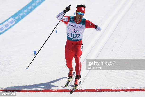 Yoshihiro Nitta of Japan crosses the line to win the Men's Cross Country 10km Classic Standing on day eight of the PyeongChang 2018 Paralympic Games...