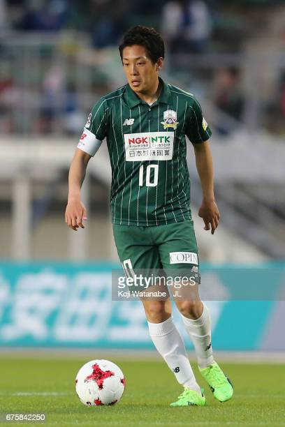 Yoshihiro Shoji of FC Gifu in action during the JLeague J2 match between FC Gifu and Zweigen Kanazawa at Nagaragawa Stadium on April 29 2017 in Gifu...