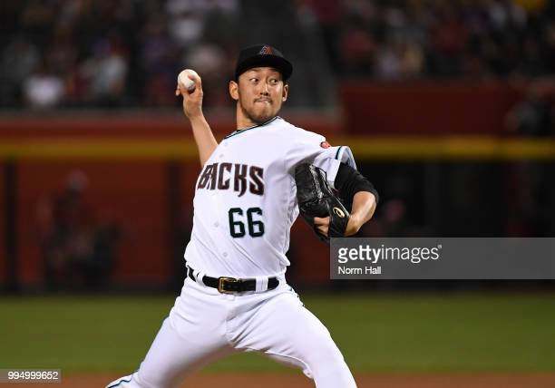 Yoshihisa Hirano of the Arizona Diamondbacks delivers a seventh inning pitch against the San Diego Padres at Chase Field on July 6 2018 in Phoenix...