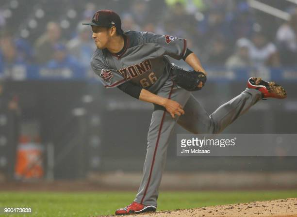Yoshihisa Hirano of the Arizona Diamondbacks in action against the New York Mets during the seventh inning at Citi Field on May 19 2018 in the...