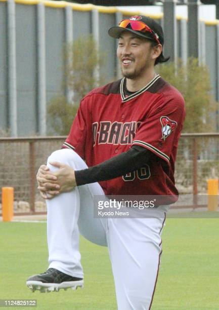 Yoshihisa Hirano of the Arizona Diamondbacks is pictured in Scottsdale Arizona on Feb 13 the first day of the club's spring training camp ==Kyodo