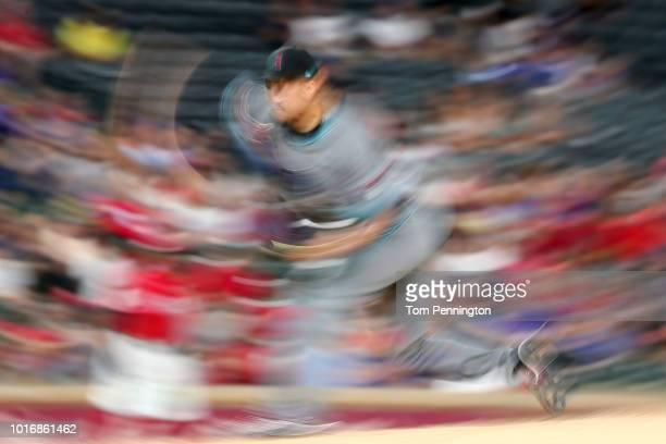 Yoshihisa Hirano of the Arizona Diamondbacks pitches against the Texas Rangers in the bottom of the eighth inning at Globe Life Park in Arlington on...