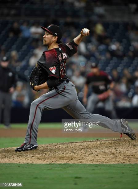Yoshihisa Hirano of the Arizona Diamondbacks pitches during the ninth inning of a baseball game against the San Diego Padres at PETCO Park on...