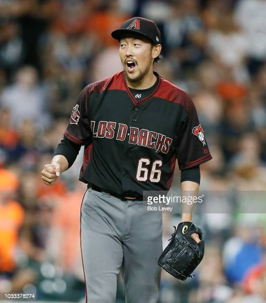 Yoshihisa Hirano of the Arizona Diamondbacks pitches in the ninth inning to get the save as they beat the Houston Astros 42 at Minute Maid Park on...