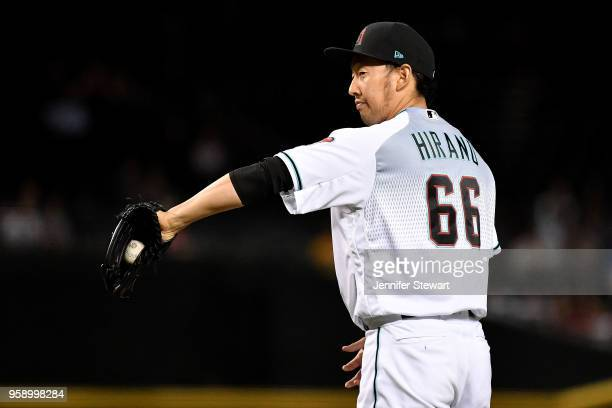 Yoshihisa Hirano of the Arizona Diamondbacks reacts in the seventh inning of the MLB game against the Milwaukee Brewers at Chase Field on May 15 2018...