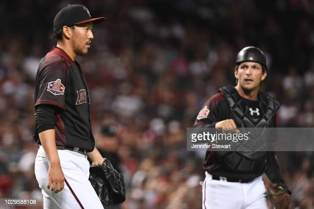 Yoshihisa Hirano of the Arizona Diamondbacks reacts on the field after making an out during the ninth inning of the MLB game against the Atlanta...