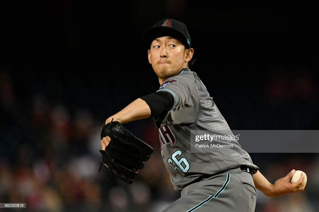Yoshihisa Hirano #66 of the Arizona Diamondbacks throws a pitch in the seventh inning against the Washington Nationals at Nationals Park on April 27, 2018 in Washington, DC.