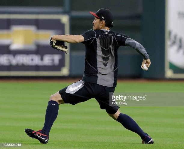 Yoshihisa Hirano of the Arizona Diamondbacks throws during a warm up session before the game against the Houston Astros at Minute Maid Park on...