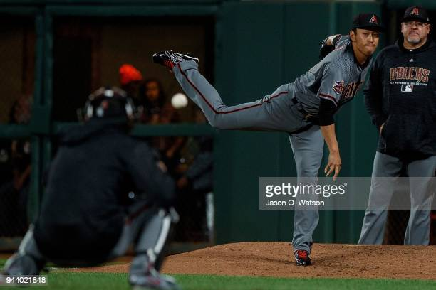 Yoshihisa Hirano of the Arizona Diamondbacks warms up in the bullpen during the eighth inning against the San Francisco Giants at ATT Park on April 9...