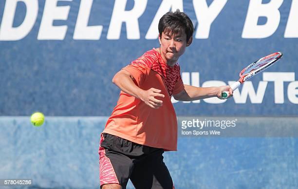 Yoshihito Nishioka defeats Marcos Giron 46 63 62 at the 2015 Delray Beach Open in Delray Beach, Florida.