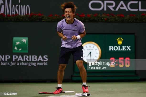 Yoshihito Nishioka of Japan celebrates his men's singles third round match victory against Felix Auger-Aliassime of Canada on Day 8 of the BNP...