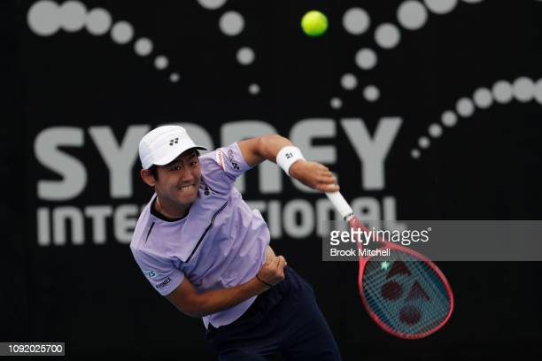 Yoshihito Nishioka of Japan hits a forehand during his quarterfinal match with Diego Schwartzman of Argentina during day five of the 2019 Sydney...