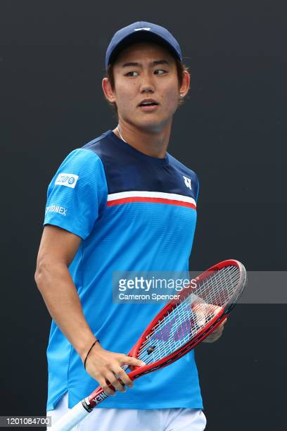 Yoshihito Nishioka of Japan reacts during his Men's Singles second round match against Daniel Evans of Great Britain on day three of the 2020...