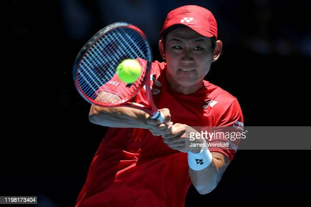 Yoshihito Nishioka of Team Japan plays his backhand shot during day six of the 2020 ATP Cup Group Stage at RAC Arena on January 08 2020 in Perth...