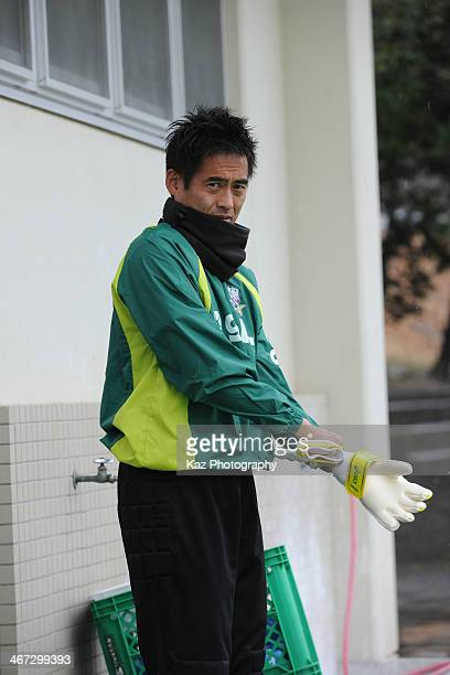 Yoshikatsu Kawaguchi of FC Gifu former Japan international player prepares warming up during the preseason friendly match between FC Gifu and Oita...