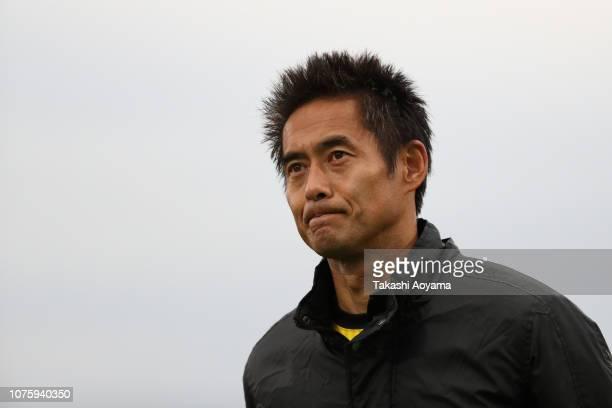 Yoshikatsu Kawaguchi of SC Sagamihara looks on during his retirement ceremony following the JLeague J3 match between SC Sagamihara and Kagoshima...