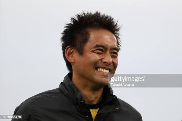 Yoshikatsu Kawaguchi of SC Sagamihara smiles during his retirement ceremony following the JLeague J3 match between SC Sagamihara and Kagoshima United...