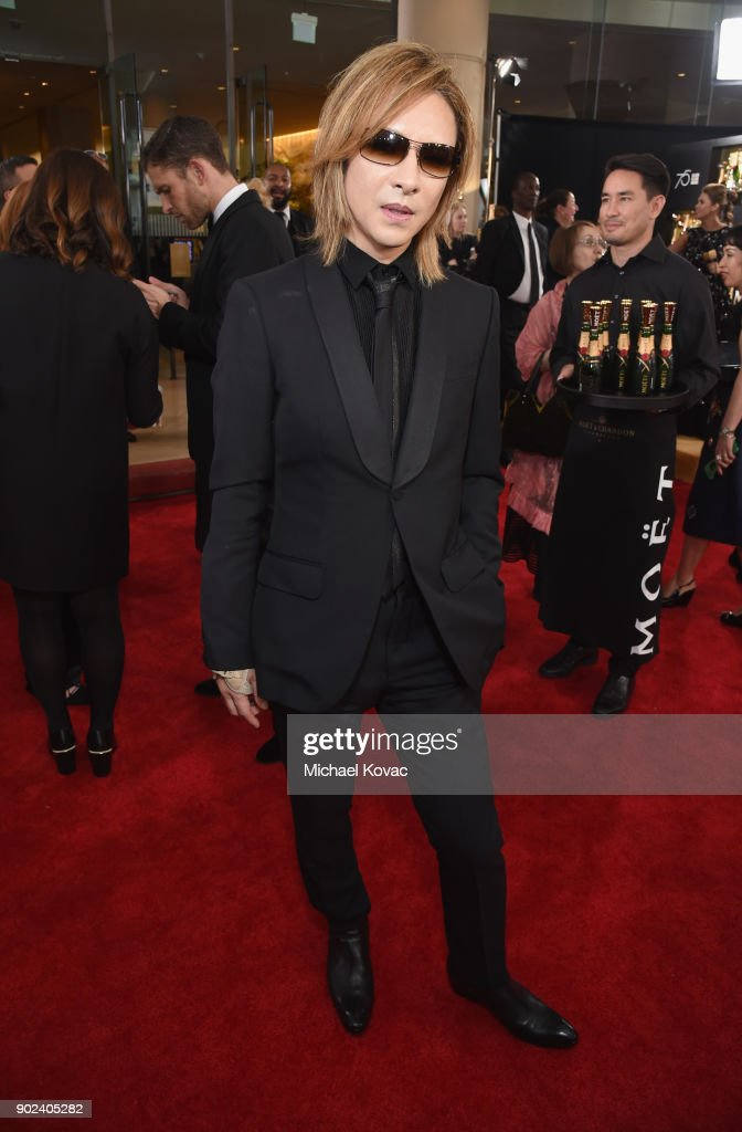 Yoshiki celebrates The 75th Annual Golden Globe Awards with Moet & Chandon at The Beverly Hilton Hotel on January 7, 2018 in Beverly Hills, California.
