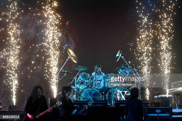 Yoshiki Hayashi of XJapan performs onstage during 2018 Coachella Valley Music And Arts Festival Weekend 1 at the Empire Polo Field on April 14 2018...