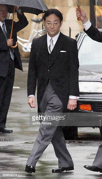 Yoshiki Kuroda the Tokyo metropolitan government official who will marry Princess Sayako the daughter of Emperor Akihito leaves his home for the...
