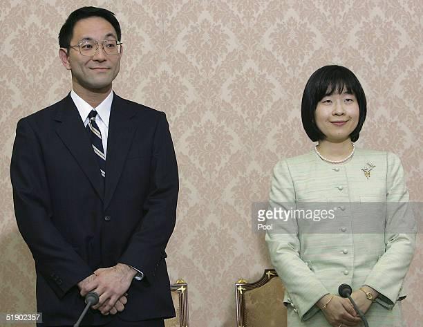 Yoshiki Kuroda Tokyo city bureaucrat and Japan's Princess Sayako arrive to a press conference to announcing their engagement at the Imperial...