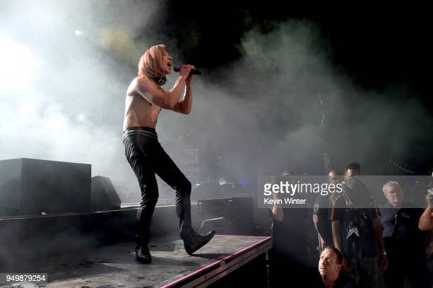 Yoshiki of X Japan performs onstage during the 2018 Coachella Valley Music And Arts Festival at the Empire Polo Field on April 21 2018 in Indio...