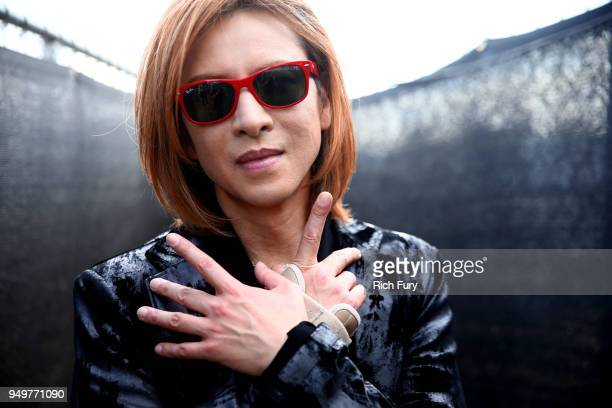 Yoshiki poses backstage during the 2018 Coachella Valley Music And Arts Festival at the Empire Polo Field on April 21 2018 in Indio California