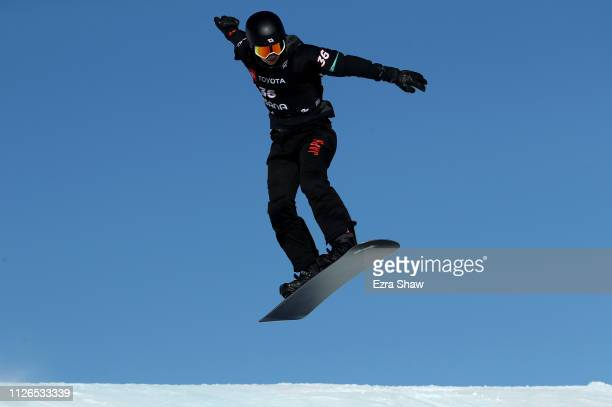 Yoshiki Takahara of Japan competes in the Men's Snowboard Cross Qualifiers of the FIS Snowboard World Championships at Solitude Resort on January 31...