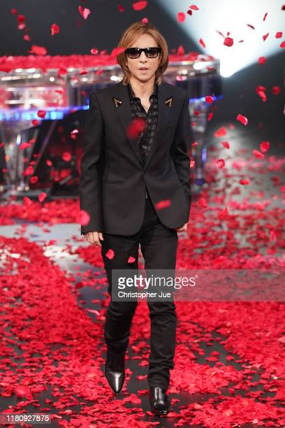 Yoshiki walks down the runway after presenting his collection Yoshikimono during Rakuten Fashion Week TOKYO 2020 S/S on October 14, 2019 in Tokyo,...