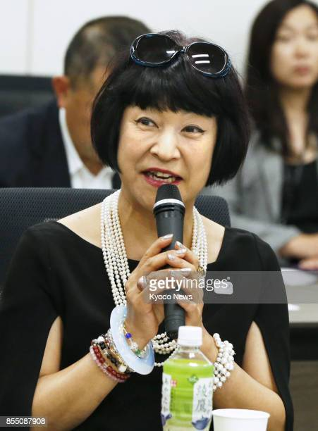 Yoshiko Ikoma fashion journalist and vice head of a panel examining entries for the official mascots of the 2020 Tokyo Olympics and Paralympics gives...
