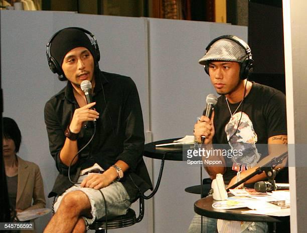 Yoshikuni Dochin Kaname Kawabata of music duo Chemistry attend the 'Rock Kids 802' live radio program at BIG STEP on August 20 2007 in Tokyo Japan