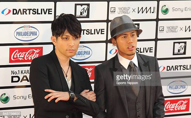 Yoshikuni Dochin Kaname Kawabata of music duo Chemistry attend the MTV Japan Video Music Awards Ceremony on May 29 2010 in Tokyo Japan