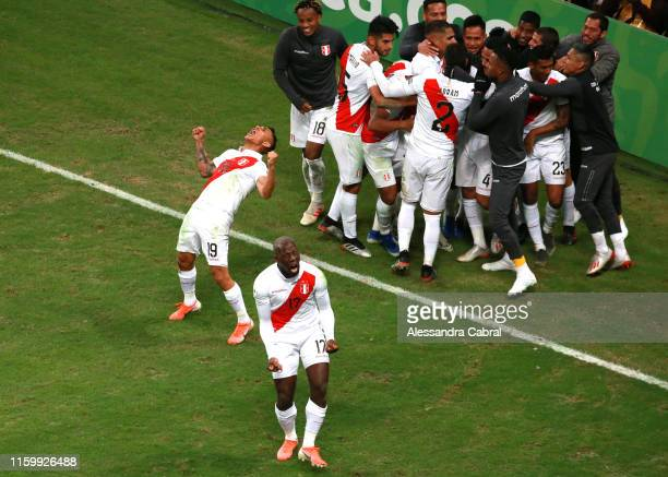 Yoshimar Yotun and Luis Advincula of Peru celebrate after winning during the Copa America Brazil 2019 Semi Final match between Chile and Peru at...