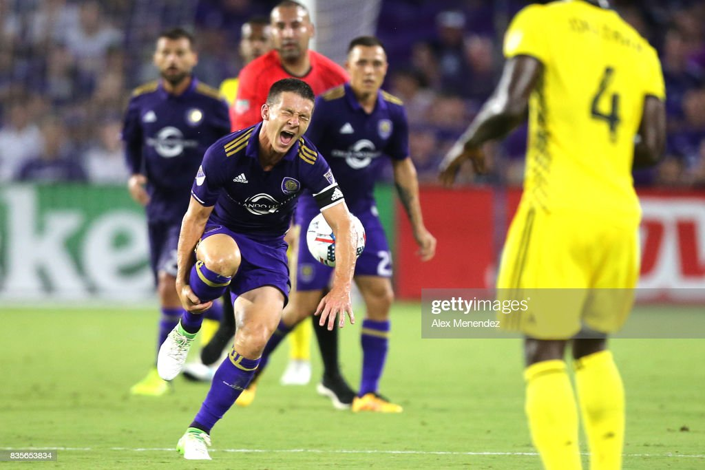 Yoshimar Yotun #19 of Orlando City SC screams in pain after a foul during a MLS soccer match between the Columbus Crew SC and the Orlando City SC at Orlando City Stadium on August 19, 2017 in Orlando, Florida.
