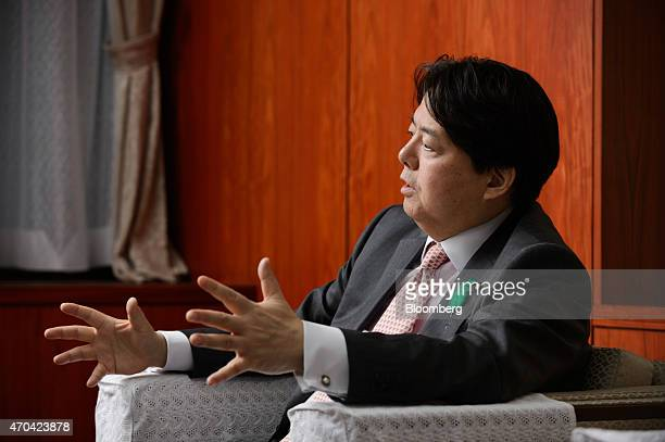 Yoshimasa Hayashi Japan's minister of agriculture forestry and fisheries gestures as he speaks during an interview in Tokyo Japan on Monday April 20...