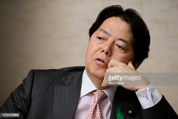 Yoshimasa Hayashi Japan's minister of agriculture forestry and fisheries speaks during an interview in Tokyo Japan on Monday April 20 2015 Any trade...