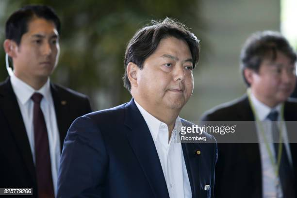Yoshimasa Hayashi newlyappointed education culture sports science and technology minister of Japan center arrives at the Prime Minister's official...