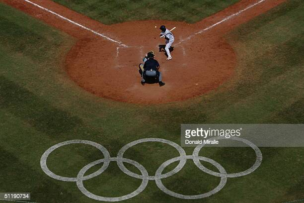 Yoshinobu Takahashi of Japan bats in the baseball preliminary game between Japan and Australia on August 18 2004 during the Athens 2004 Summer...