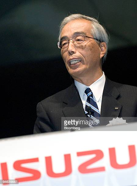 Yoshinori Ida president of Isuzu Motors Ltd Japan's biggest maker of lightduty trucks speaks at an event to announce the company's new edition of its...