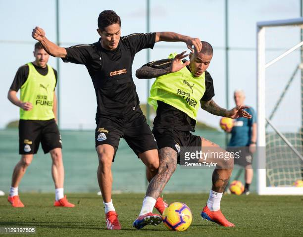 Yoshinori Muto and Kenedy jostle for the ball during the Newcastle United warm weather training session at La Finca Golf Resort on February 12 2019...
