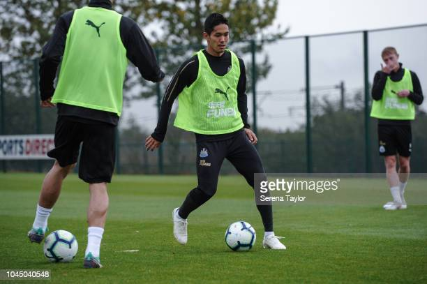 Yoshinori Muto controls the ball during the Newcastle United Training session at The Newcastle United Training Centre on October 3 in Newcastle upon...