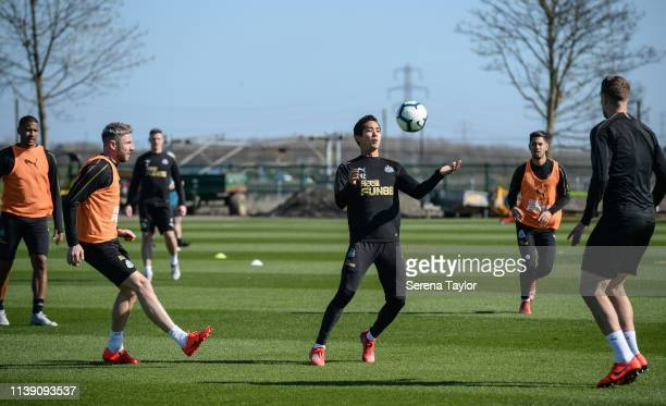 Yoshinori Muto controls the ball during the Newcastle United Training session at the Newcastle United Training Centre on March 29 2019 in Newcastle...
