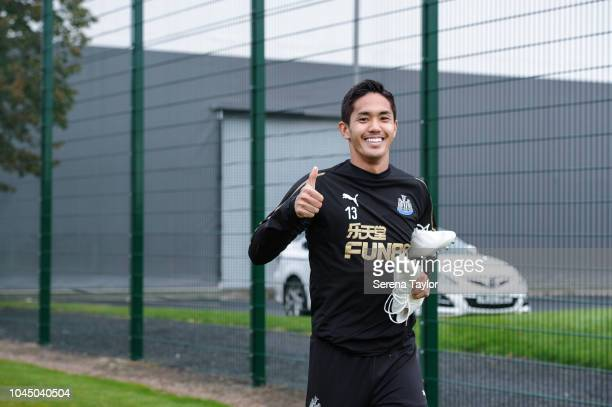Yoshinori Muto during the Newcastle United Training session at The Newcastle United Training Centre on October 3 in Newcastle upon Tyne England